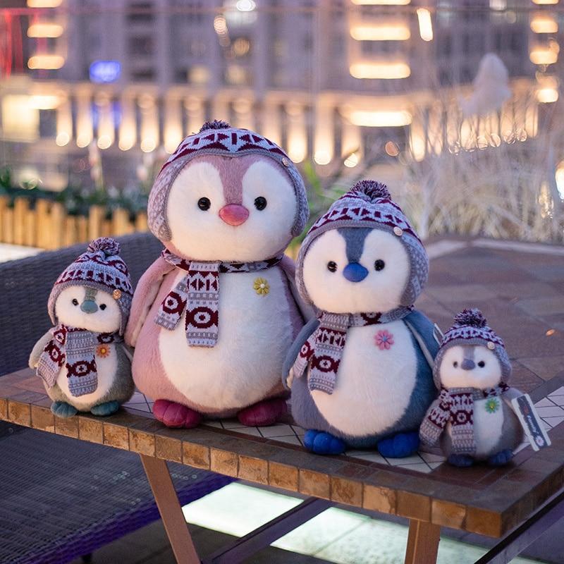 Yeni 4 stil eşarp penguen peluş oyuncaklar dolması karikatür hayvan bebek çocuklar için moda oyuncak bebek güzel kız noel doğum günü hediyesi