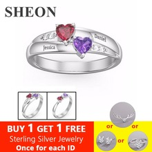 SHEON Genuine 925 Sterling Silver Ring Engraved Double Love Heart Birthstone Finger Ring Sterling Silver Jewelry For Lover Gift недорого