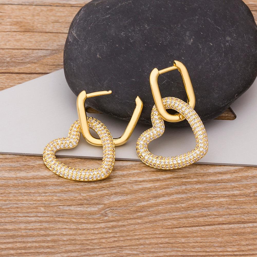 2020 New Design Gold /Colorful/Green Stone Heart Dangle Earrings Cubic CZ Cuff Drop Earrings Huggie Simple Christmas Jewelry