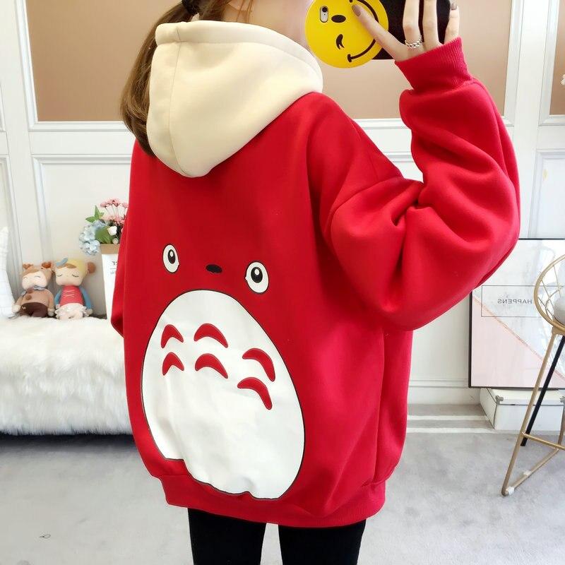 Zuolunouba Winter Women Hoody Sweatshirt Printed Cartoon Anime Harajuku Kawaii Loose Long Sleeve Student Female Casual Pullover