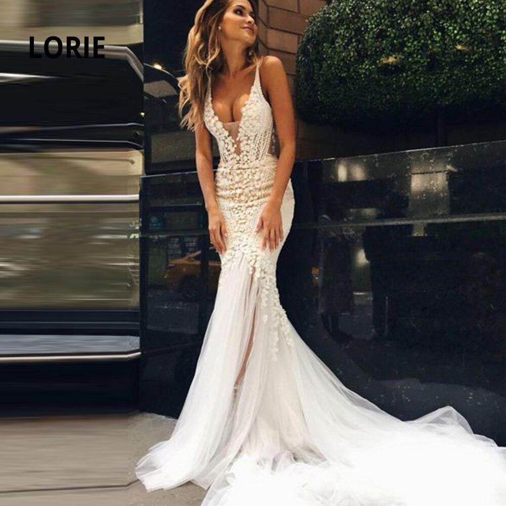 LORIE Свадебные платья Русалка Кружева 2020 Спагетти ремень Мягкий Тюль Свадебные платья с глубоким вырезом на спине без рукавов платье невесты