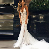 LORIE Mermaid Wedding Dresses Lace 2020 Spaghetti Strap Soft Tulle Backless Bridal Gowns Sleeveless Bride dress with Train