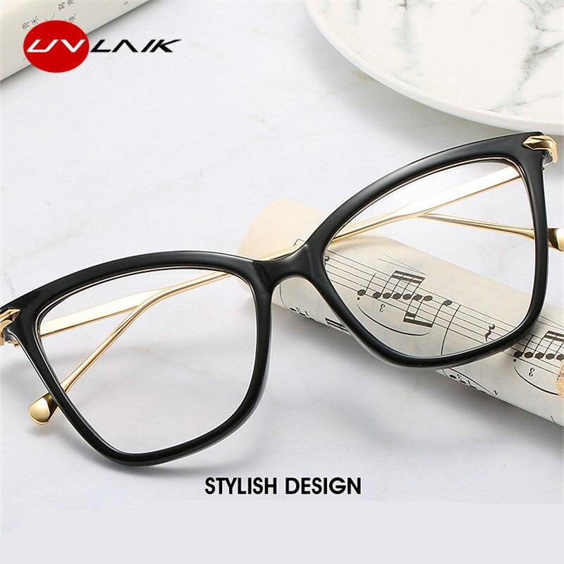 UVLAIK Sexy Cat Eye Glasses Frames Women Brand Designer Optical Myopia Eye Glasses Ladies Transparent Spectacle Computer Eyewear