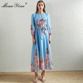 цена на MoaaYina Fashion Designer Runway dress Spring Autumn Women Dress Lantern Sleeve Floral-Print Vacation Lace up Dresses