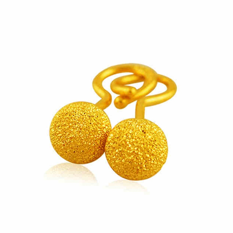999 Real 24K Yellow Gold Earrings Women Luck Round Ball Stud Earrings 1.2-1.5g Brush-finished Craft Earrings