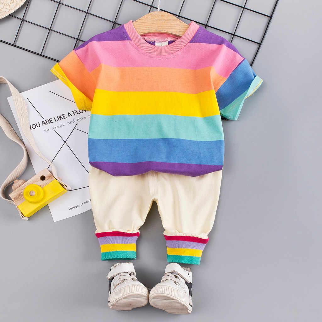 Одежда для младенцев, комплект одежды для маленьких девочек, коллекция 2019 года, летняя одежда для маленьких мальчиков футболка + штаны, костюм, комплект одежды Одежда для новорожденных