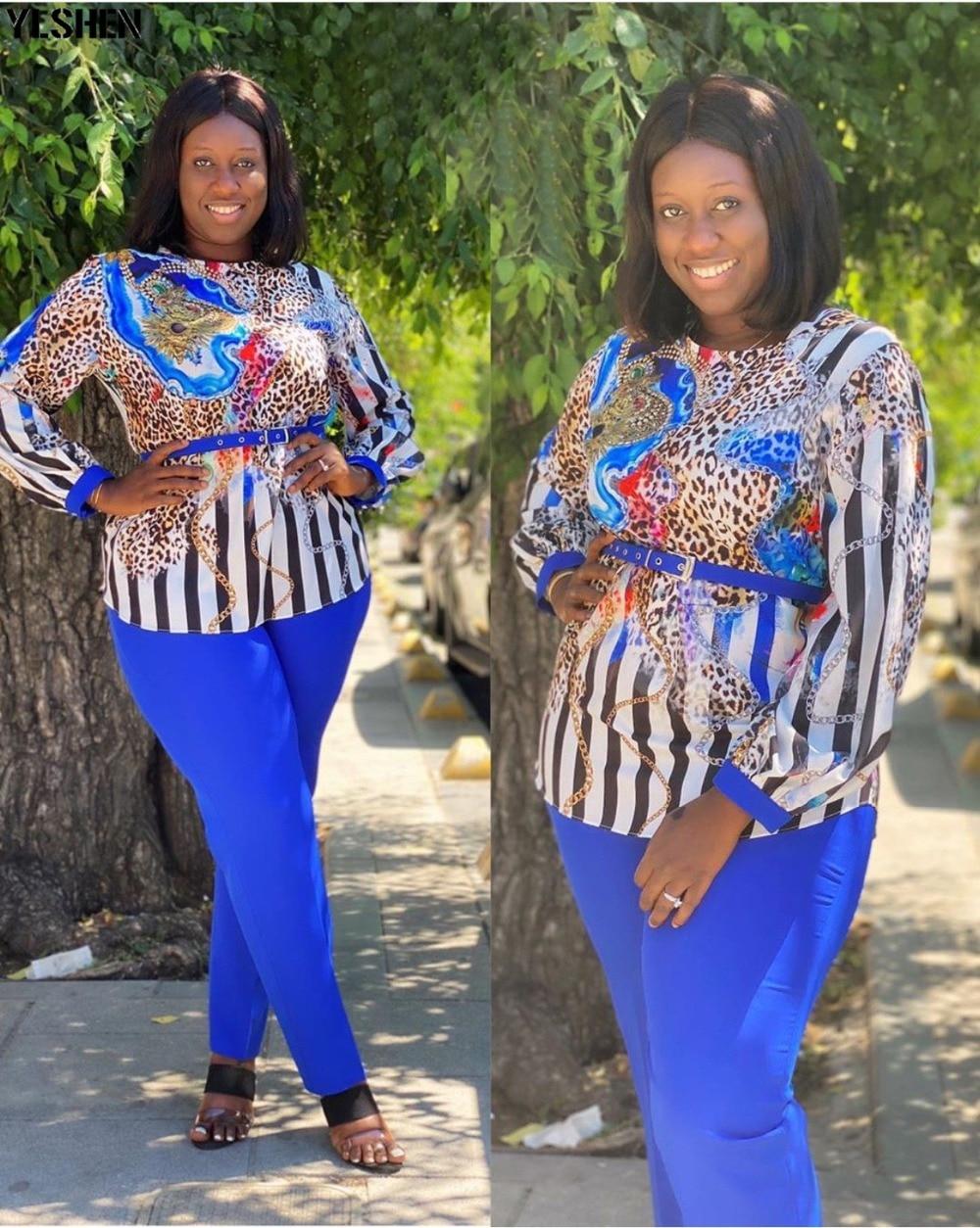 Two 2 Piece Set African Clothes Africa 2020 Dashiki Fashion Print Dresses Suit Bazin Top Pants Elastic Party Plus Size Clothing 11