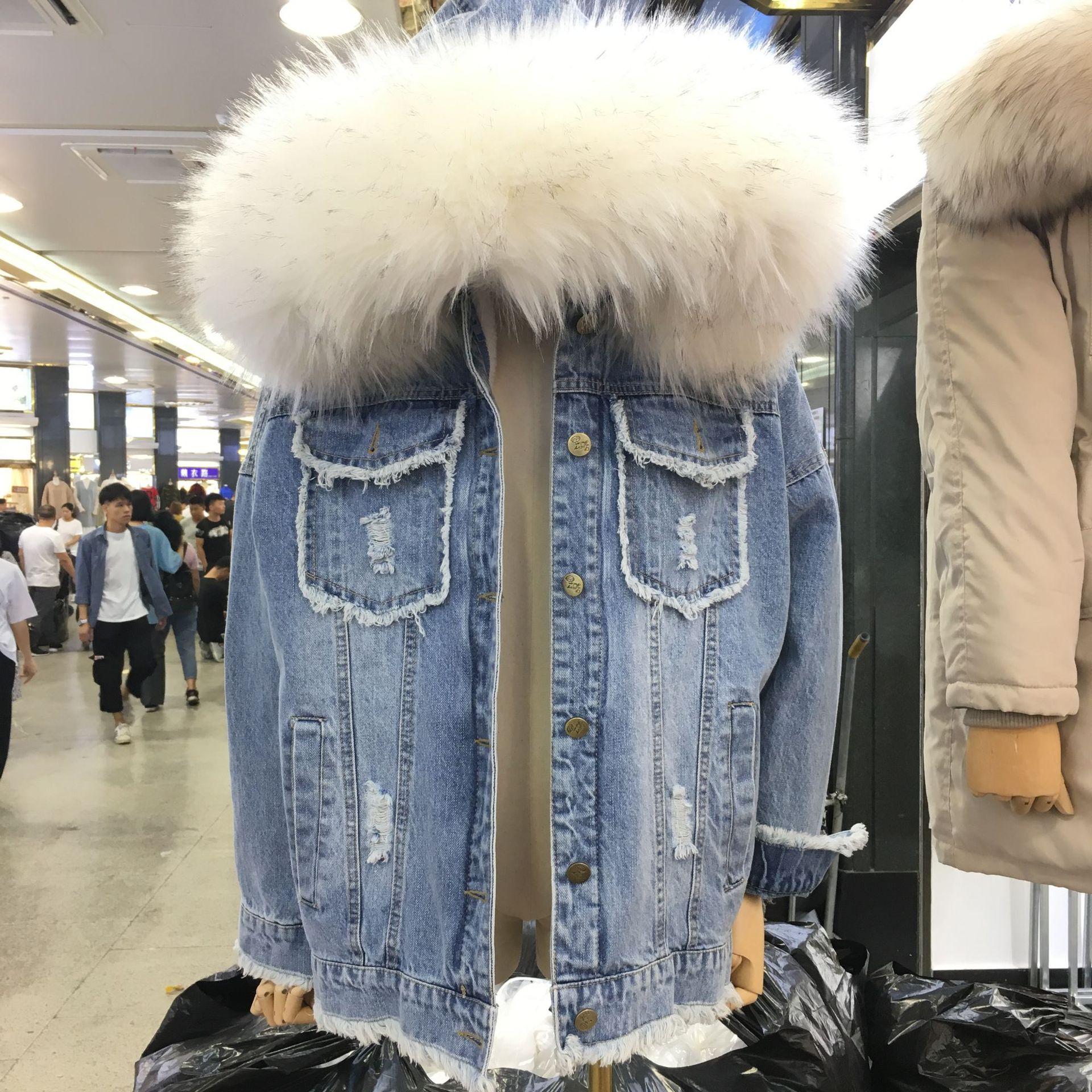 Real Fox fur collar thick warm denim jacket female winter detachable Faux rabbit fur liner Bandage stitching real fur coat F2335