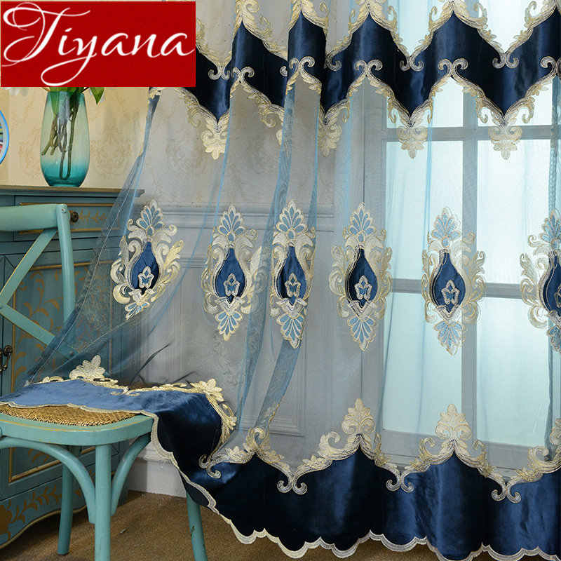 Velvet Embroidered Curtains Luxury Blue Panel for Living Room Sheer Fabrics Window Soild Cortinas Window Bedroom M021#40