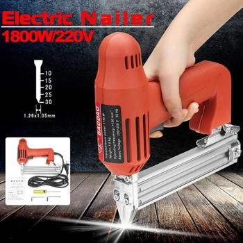 ROLKETU 1800W 220V Electric Nailer 10-30mm Straight Nail Staple Piercing Gun Lightweight Woodworking Power Tool