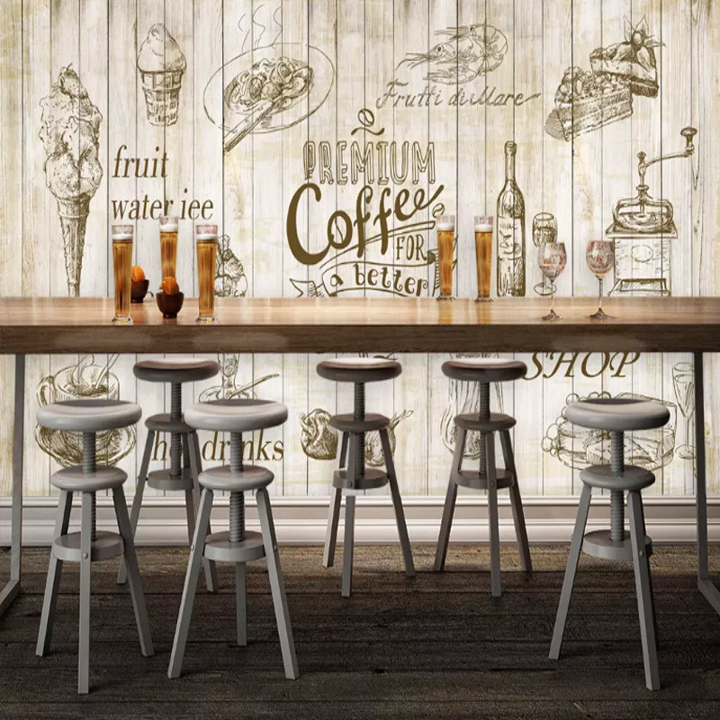 Europe And America Hand-Painted Mural Afternoon Tea Fruit Juice Beverage Cold Drinks Shop Background Wallpaper Dessert Cafe Rest