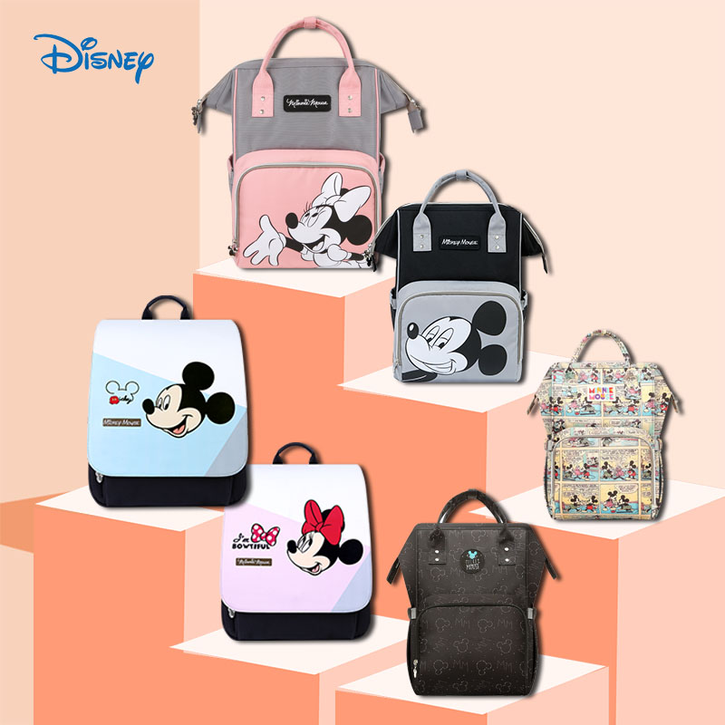Disney Diaper Bag Mummy Backpack USB Bottle Heating Baby Bag For Mommy Maternity Mother Nappy Bag Wet Bag Mickey Mouse Send Hook