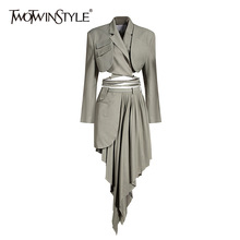 Top Skirt Suit Two-Piece-Set Twotwinstyle-Ruched Women Long-Sleeve Female High-Waist