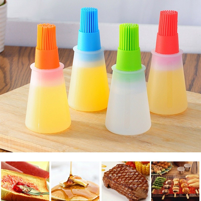 Portable Silicone Oil Bottle With Brush Baking Basting Brush Pastry Oil Honey Brush Kitchen Baking Oil Tool BBQ Gadgets