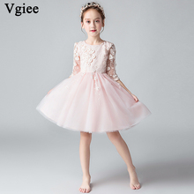 Vgiee  Princess Dress Girls Dresses for Party and Wedding Mesh Knee-Length Flowers Half Cotton Birthday Dress for Girls CC665