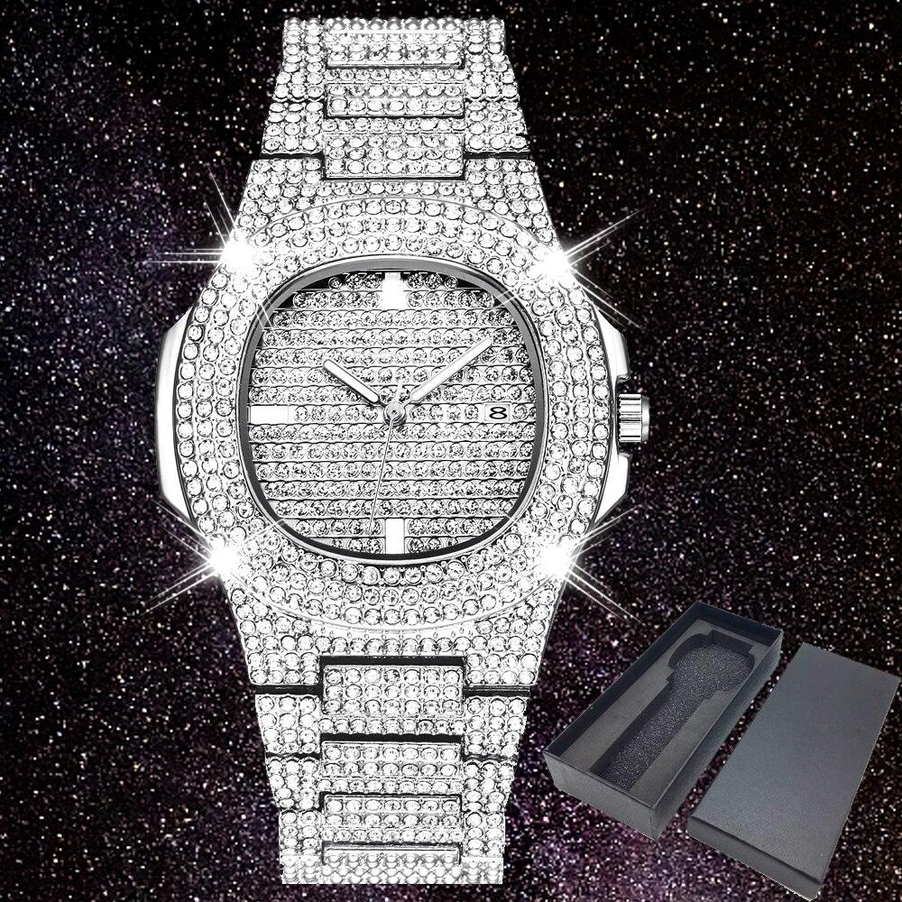 Iced Out Watches Women Hip Hop Bling Diamonds Quartz Watch Men Unisex Wristwatch Silver Steel Business Man Female Clock Dropship
