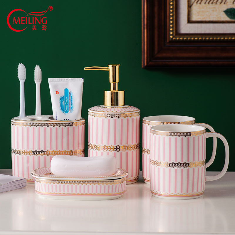 Pink Ceramic Stripes Bathroom Set Home Accessories Toilet Storage Organizer Luxury Nordic Toothbrush Cup Holder Soap Dispenser image