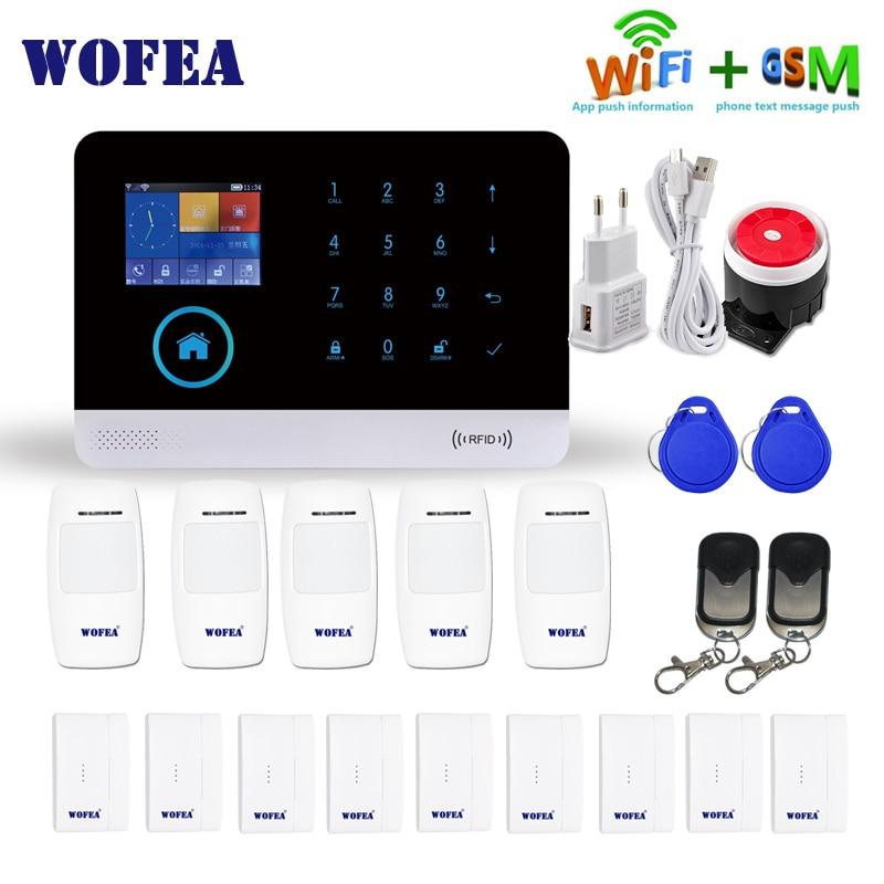 WOFEA Wireless WIFI GSM Alarm System Sensor Kit SIM GSM Home RFID Burglar Security LCD Touch Keyboar English,Russian,Spanish