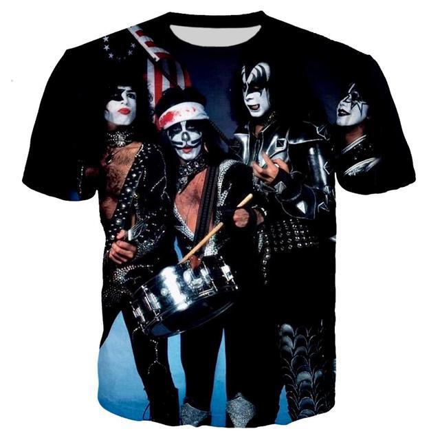 Impression 3D KISS Band été mode t-shirt hommes/femmes Rock Streetwear t-shirt garçon col rond t-shirt hommes vêtements 2019 haut surdimensionné 5XL