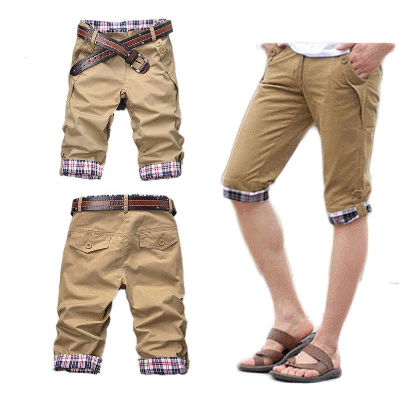Man's Summer Casual Fashion Shorts Men's Casual Capris Men's WearCasual Shorts Cotton Polyester Mid Solid Fashion Zipper Fly