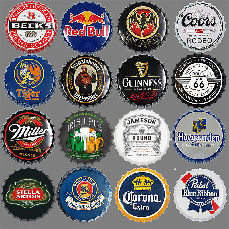 Classic Famous Brand Beer Bottle Cap Sign Retro Metal Plaques Pub Bar Wall Decorative Painting Art Hanging Crafts Decor Tin Sign