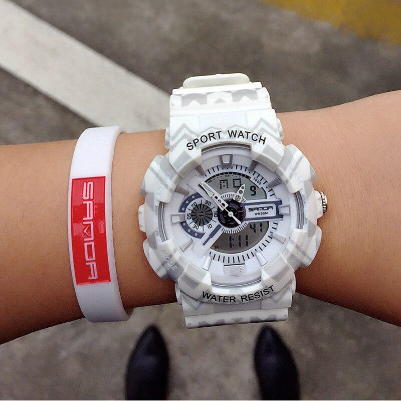 SANDA Women Watches Reloj Mujer Waterproof Dual Time Personality Men's Multi Function LED Electronic Sport Watch Zegarek Damski