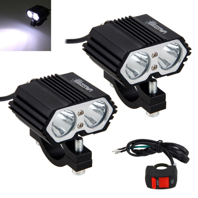 1PC or 2PCS 30W 5000LM Motorcycle Headlight Spot light 2x XM-L T6 LED Bicycle Fog Light Driving Lamp with Switch