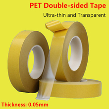 PET Double-sided Adhesive Tape Ultra-thin 0.05mm Thick Transparent Film Double-sided Adhesive Tape Acrylic Adhesive Yellow Film