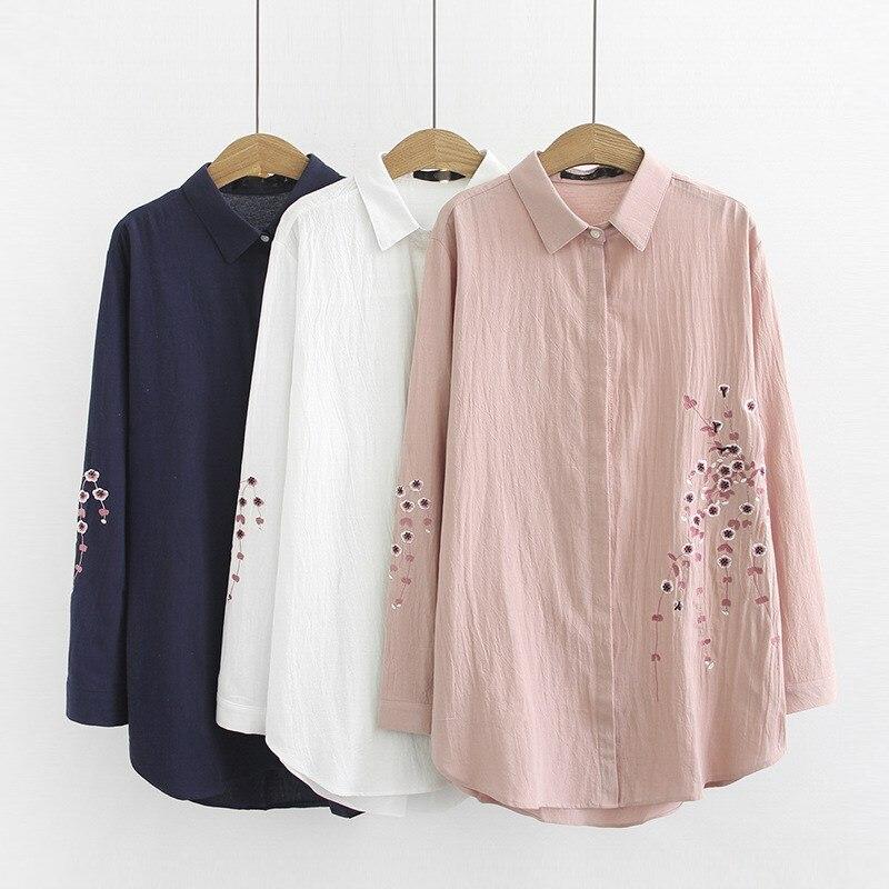 Nice été femmes fleur broderie blouse décontractée mode col rabattu grande taille chemises à manches longues en coton haut ample