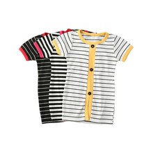Summer Cute Baby Girls Dress Striped Short Sleeve Mini Dress Button Sundress 0-5Y button up shirred waist striped dress