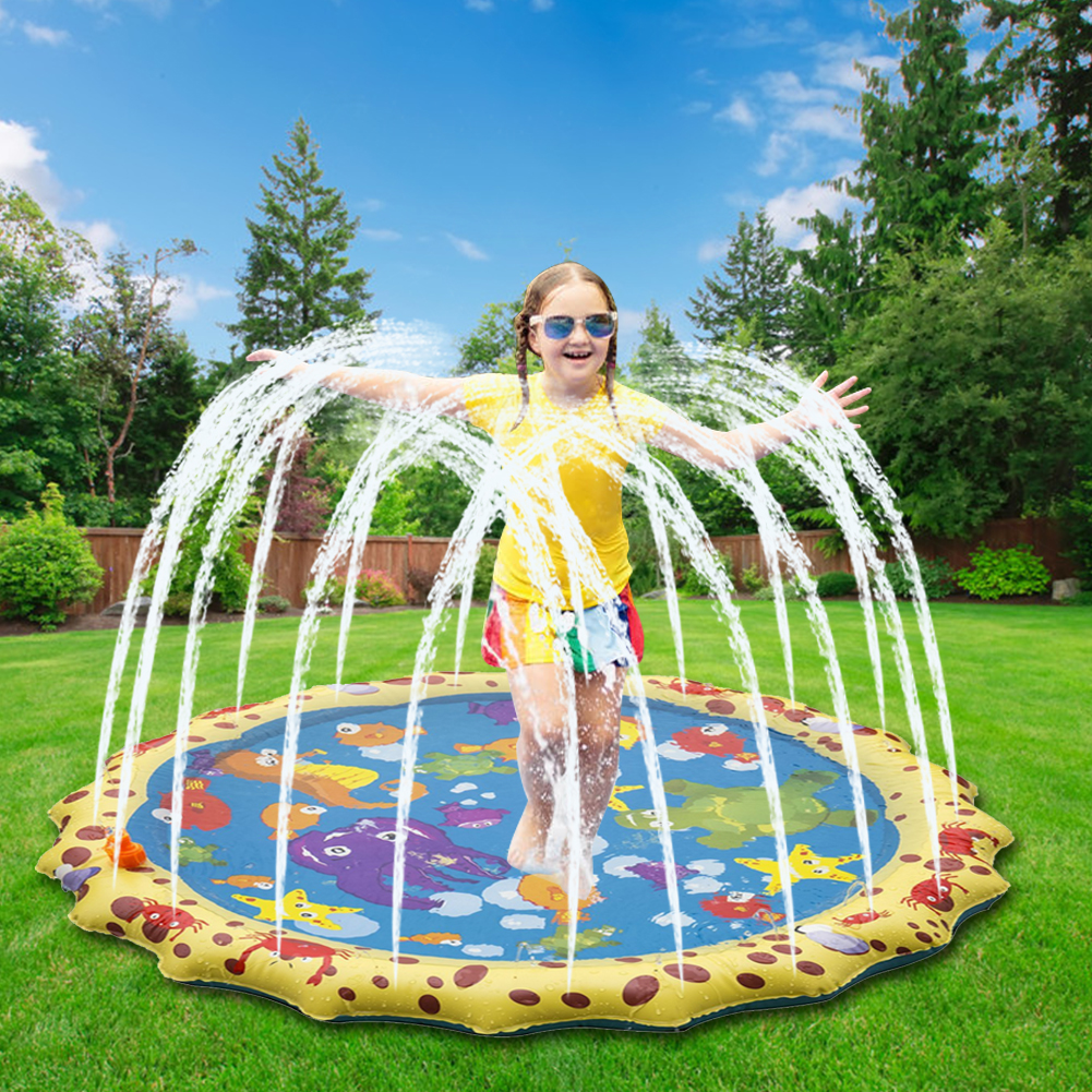 1m Water Mat Children Baby PVC Outdoor Beach Play Game Inflatable Hand-eye Spray Water Cushion Mat Toys Gifts Supplies