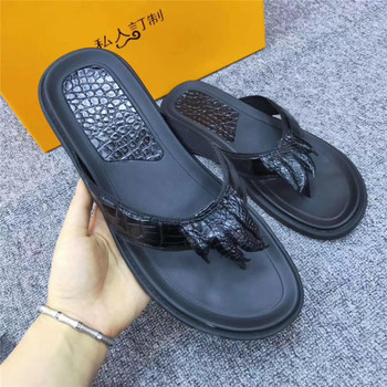 Authentic Alligator Paw Claw Designer Soft Rubble Sole Men Casual Flip-flops Genuine Exotic Crocodile Skin Leather Male Slippers