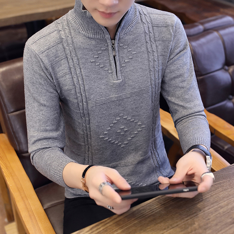 Navy Black Mens Sweaters Grey Youth High Collar Sleeve Thickened LONG SLEEVE WINTER Casual Red Sweater Men Turtleneck