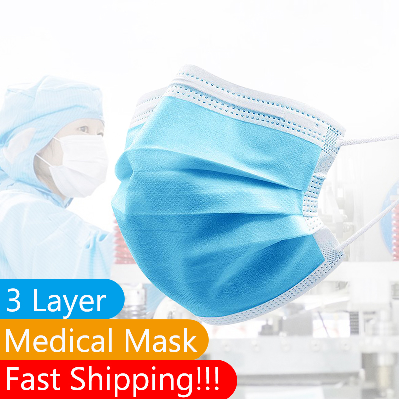 50/30/20/10/5 Pcs 3-Layer Filter Medical Masks Non-woven Face Mouth Masks Anti Pollution CE Certificate Anti-Dust Masks Unisex