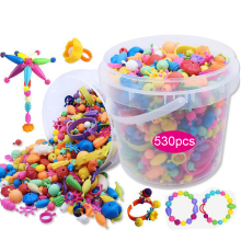 DOLLRYGA Kids Craft DIY NEW Cordless Beads 530pcs/barrel Rainbow Irregular Beads lote jouet enfant Children Toys Girl Boy Gifts