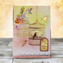 Christmas bird cage metal cutting dies cut die mold Christmas tree background Scrapbook paper craft blade punch stencils die(China)