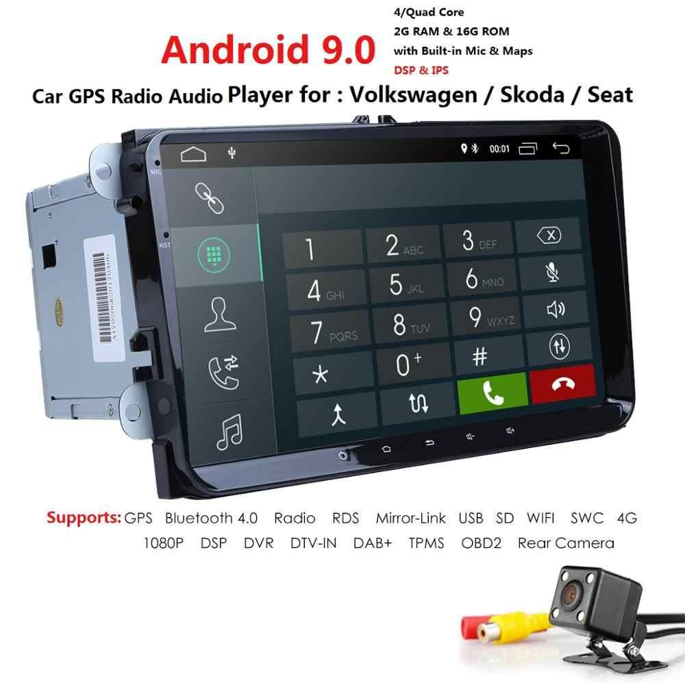 2 + 16 4G WIFI Android 9,0 coche NODVD para VW Volkswagen SKODA GOLF5 Golf 6 POLO PASSAT B7 T5 CC JETTA TIGUAN coche gps estéreo SWC DAB