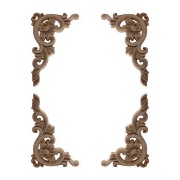 Rzeźba linie drewno aplikacja drewno naklejka Onlay niepomalowane ozdobne naturalne długie Rose Flower guma drewno narożne ściany meble tanie i dobre opinie NoEnName_Null Europa Drewna