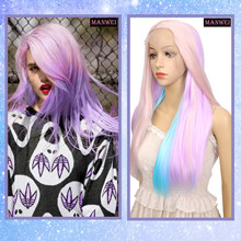 MANWEI Lolita cosplay imitation makeup female lace synthetic purple pink blue gradient long straight hair(China)