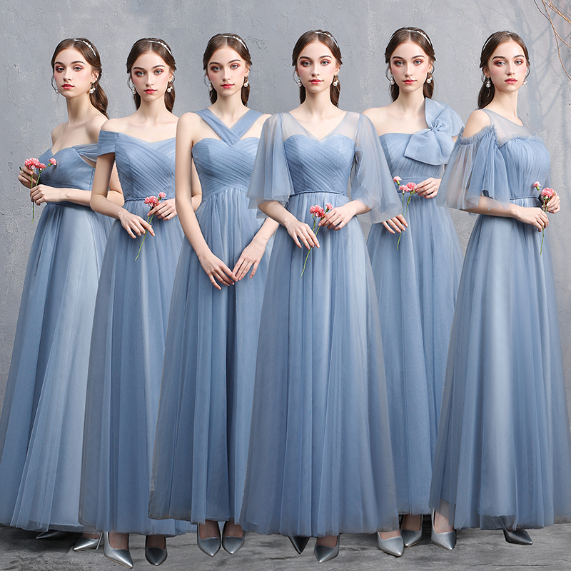 MNZ-825#Pink and Blue   Bridesmaid     Dresses   Long Wholesale party Graduation Christmas   dress   girls Bride Marriage Bride Marriage