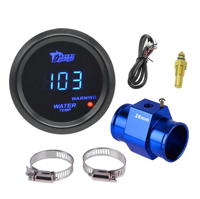 Дракон манометр 52 мм черный корпус синий цифровой светодиодный подсветка автомобиля Moter датчик температуры воды измеритель температуры воды с датчиком - Цвет: Gauge sales box 28mm