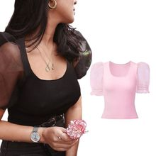 Women Sheer Mesh Short Bubble Sleeve T-Shirt Low Cut Scoop Neck Sexy Top Solid Color Slim Fit Ruffles Cuff Casual sheer panel rolled cuff shirt