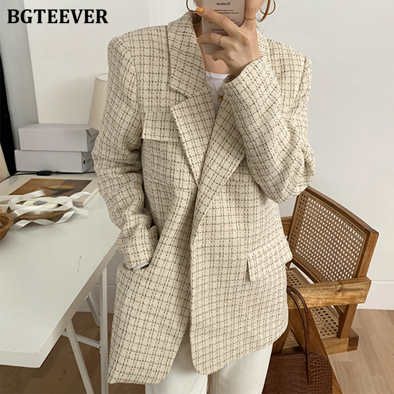 BGTEEVER Vintage Chic Plaid Suit Jackets Female Elegant Notched Collar Loose Grid Women Blazers 2020 Spring Outerwear