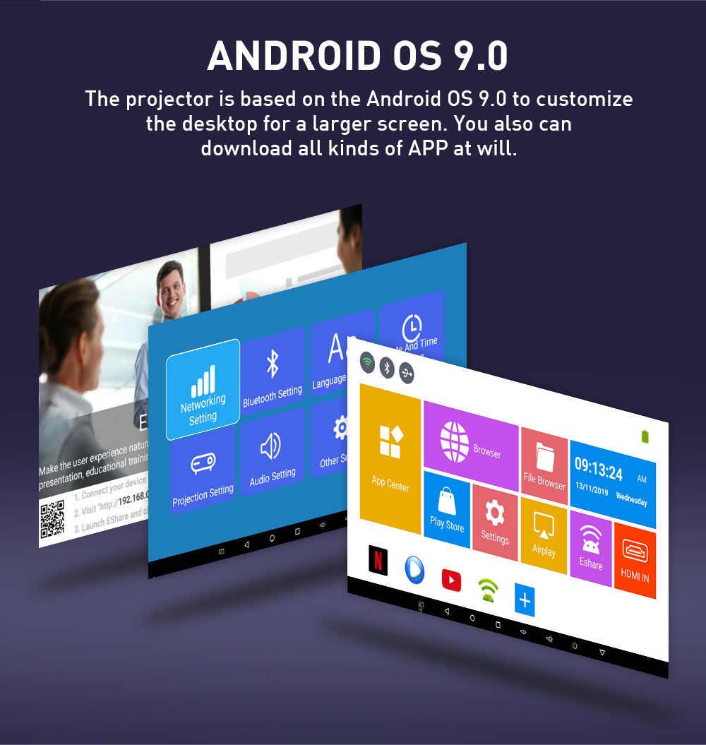 ALSTON-miniproyector portátil P09 DLP, Android, cine en casa, HDMI, compatible con decodificador 4K, WiFi, Bluetooth, Miracast, Airplay