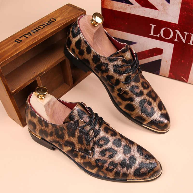 Sommer Leopard Männer Schuhe Casual Leder Espadrilles Flache Müßiggänger 2019 Mode Frühjahr Vintage Hochzeit Oxford Schuhe