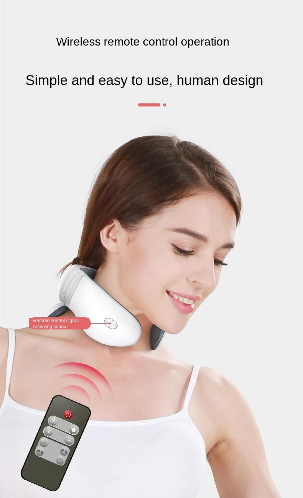 Household Magnetic Pulse Acupuncture Neck Massager Pain Relief  Relaxing Health Deep Tissue Cervical Control Massage Remote