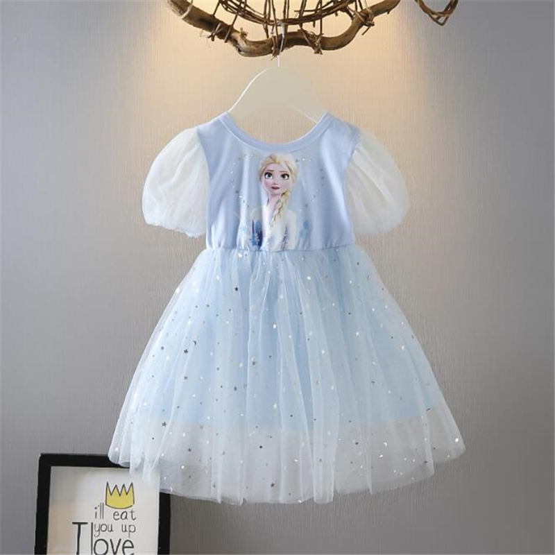 Frozen menina vestidos de verão malha vestido de princesa dos desenhos animados imprimir elsa princesa cosplay traje de festa vestido de bebê meninas crianças roupas