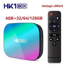 Smart TV Box HK1, Android 9,0, decodificador de señal con Amlogic S905X3, 4GB de RAM, 32GB 64GB, 128GB ROM, wi fi 2,4 GHz, 5 GHz, Bluetooth, 4K, UHD, vs H96 MAX