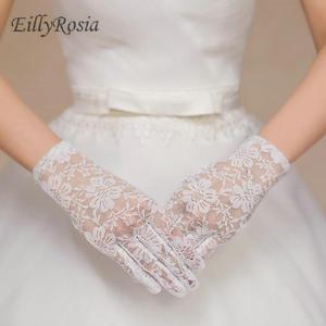 Дешевые кружевные короткие свадебные перчатки до запястья, черные, красные свадебные перчатки для невесты, полный палец, свадебные аксессу...