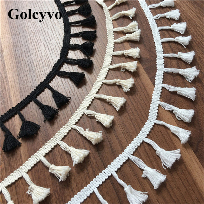 1Yard White 100% Cotton Tassels Lace Trims Edge Clothing DIY Sewing Crafts 5cm Width